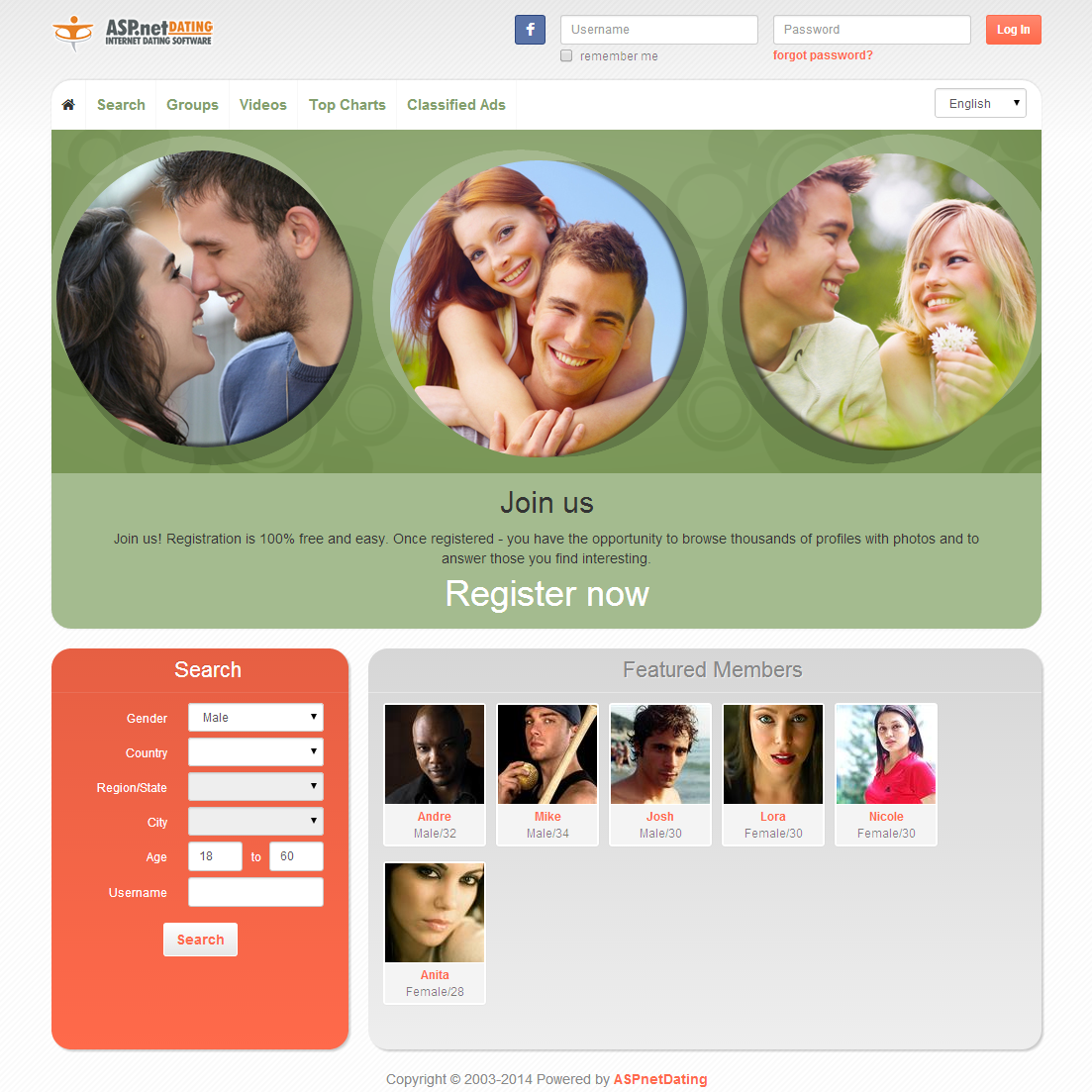Dating Software Circles2 Theme Demo Site