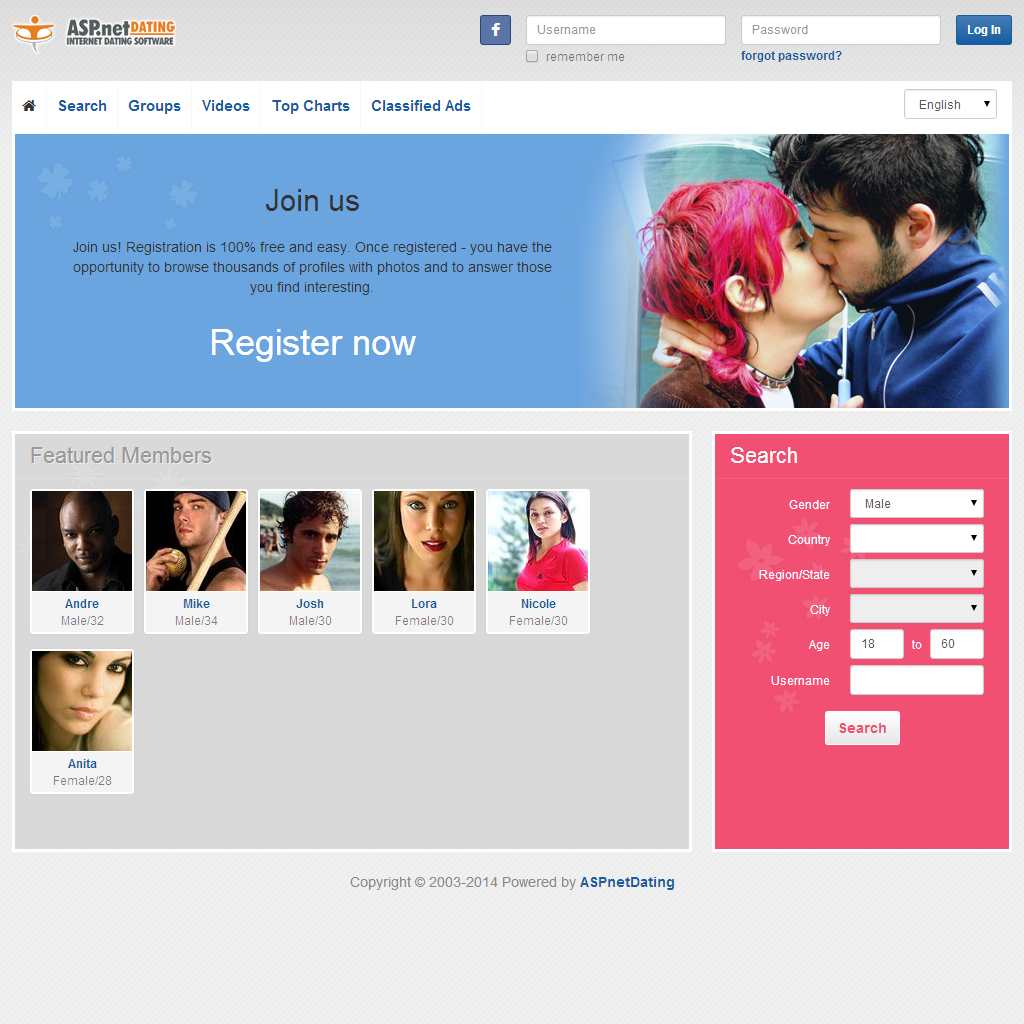 Dating Software Colors Theme Demo Site