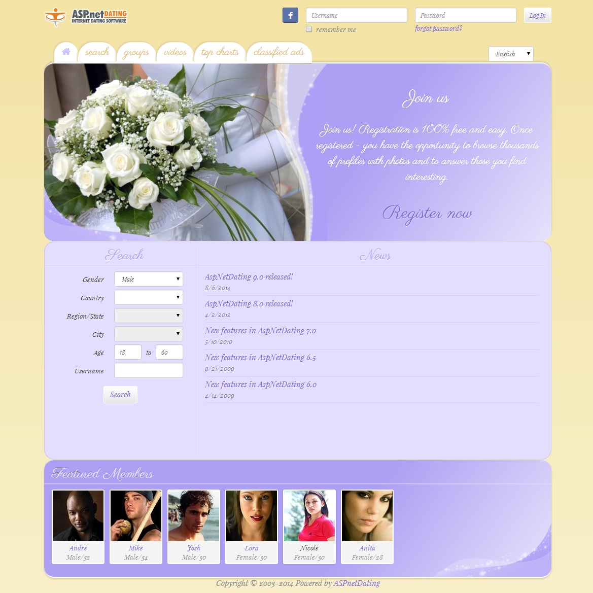 Dating Software Wedding Theme Demo Site